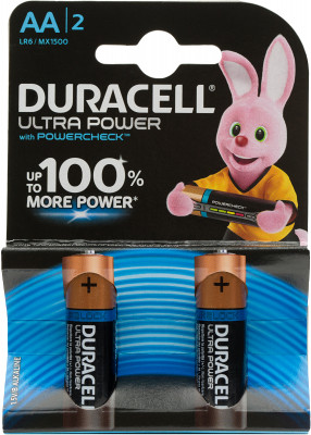 Батарейки щелочные Duracell Ultra Power АА/LR6, 2 шт. UB2M34SAIE
