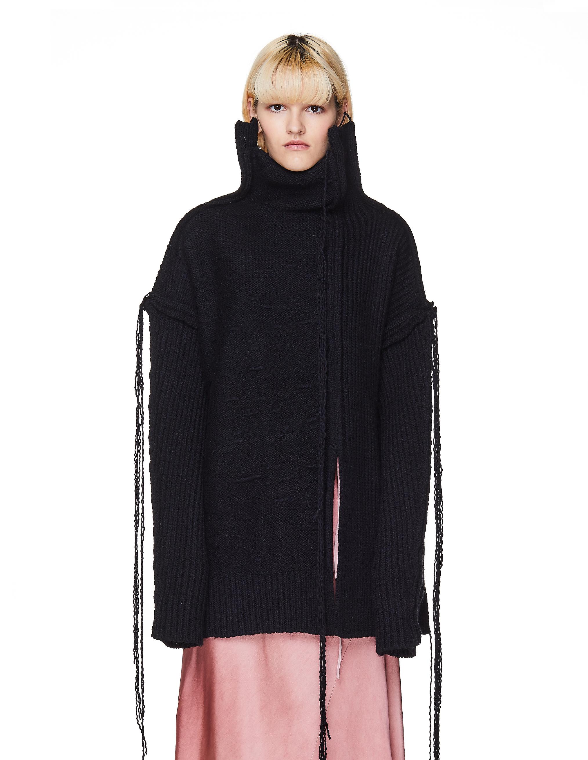 Купить Черный свитер комбинированной вязки - Yohji Yamamoto FC-K14-183-2 за 100100р. с доставкой на сайте ProKedi.ru